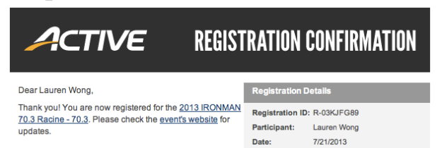You are registered!